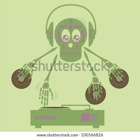 Skull disco jockey shuffling - stock vector