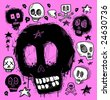 Skull doodles collection. Vector illustration. - stock vector