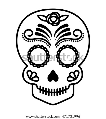 skull drawing tattoo style isolated icon vector illustration design