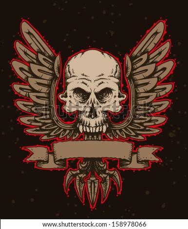 Skull emblem, vector - stock vector