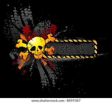 Skull emblem with text banner - stock vector