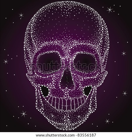 Skull from shiny dots, very nice with lacquer print - stock vector