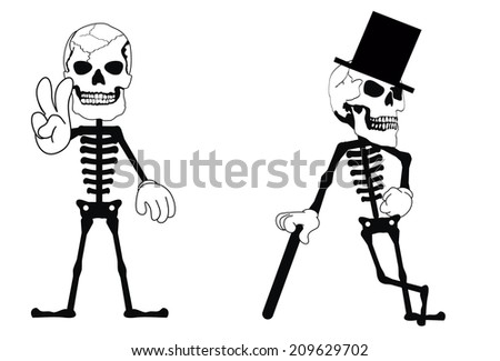 skull funny cartoon in vector format very easy to edit - stock vector