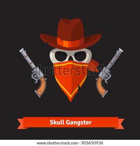 Skull gangster in stetson hat with two revolver guns. Flat style vector illustration isolated on black background. - stock vector