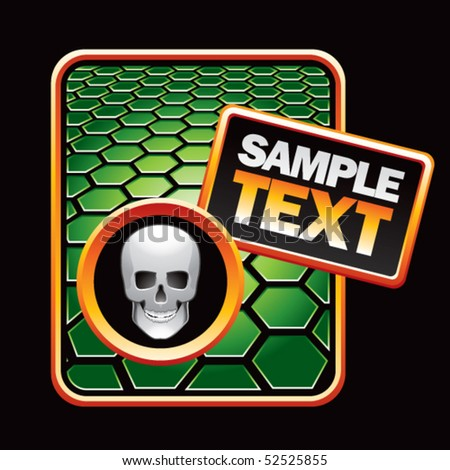 skull green hexagon advertisement