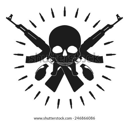 Skull 2 grenades 2 crossed assault rifles and bullets emblem. Vector clip art illustration isolated on white - stock vector