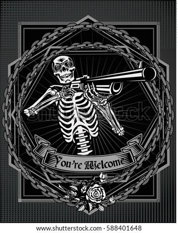 Skull Guns Roses Stock Vector Royalty Free 588401648 Shutterstock