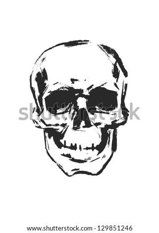 Skull. Hand drawn. Vector. - stock vector