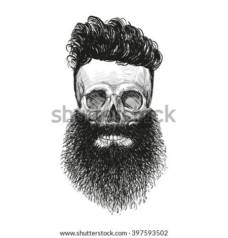 Skull hipster style, creative fashion design. Hand drawn vector illustration  - stock vector