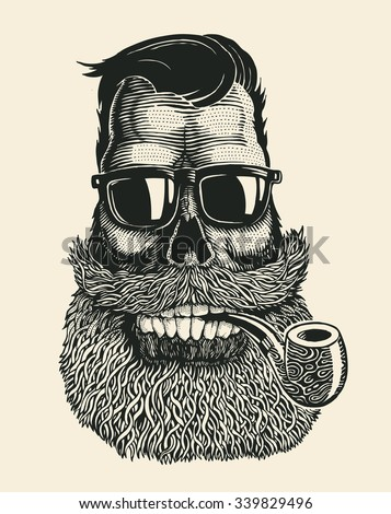 Skull hipster with mustache, beard, tobacco pipes and sunglasses. vector illustration.