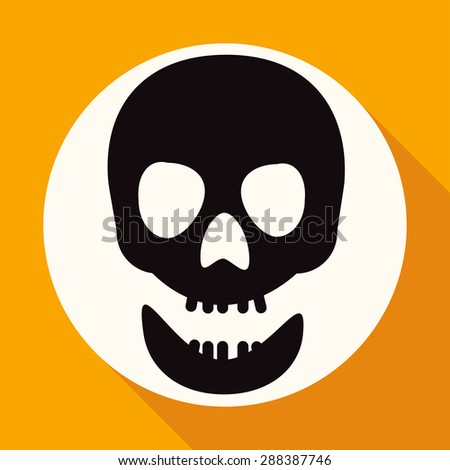 Skull icon on white circle with a long shadow