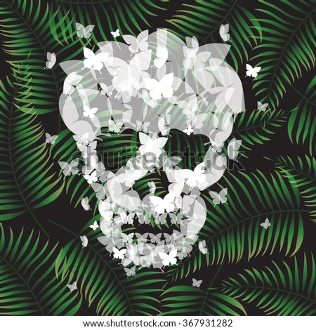 Skull Illustration With butterflies and Tropical Background - vector eps10 - stock vector