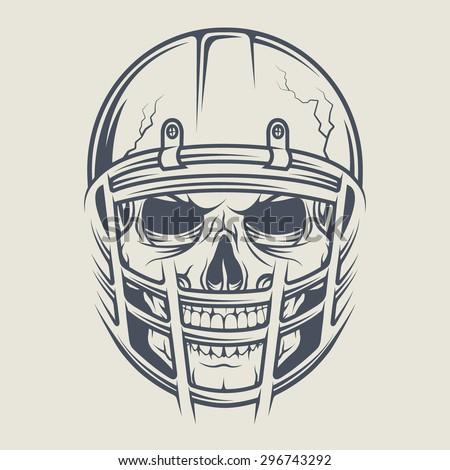 Skull in a helmet to play American football. - stock vector