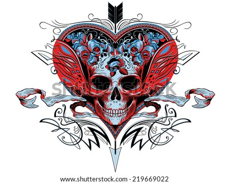 Skull in a red heart graphic with flourishes, roses and an arrow puncturing the heart - stock vector