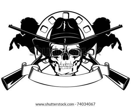 Skull in black hat with the crossed rifles - stock vector