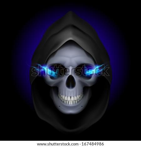 Skull in black hood with blue fiery eyes as image of death. Grim Reaper. - stock vector