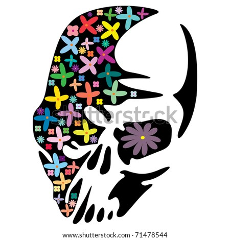 Skull in flowers - stock vector