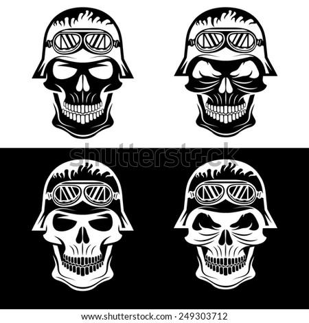 skull in helmet set, biker theme vector design template - stock vector