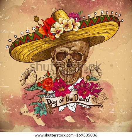 Skull in sombrero with flowers Day of The Dead - stock vector