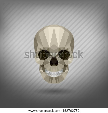 skull in the style of origami - stock vector