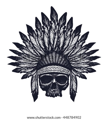 Skull indian chief hand drawing style vector illustration - stock vector