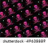 Skull Jolly Roger Repeat Pattern - stock vector