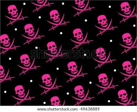 Skull Jolly Roger Repeat Pattern - stock vector