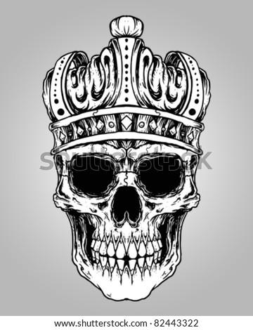 hand drawn king skull wearing crown stock vector 414728155 shutterstock. Black Bedroom Furniture Sets. Home Design Ideas