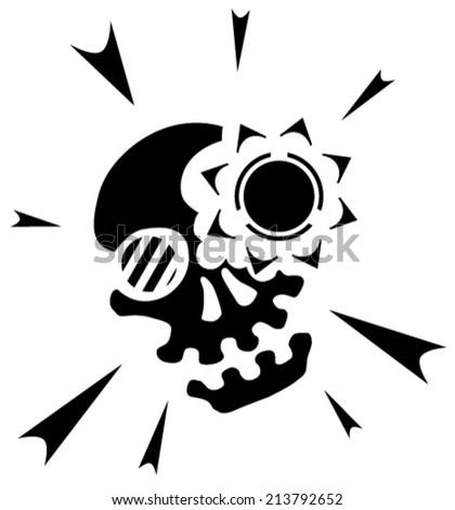 Skull light black and white vector, vertical,  isolated  - stock vector