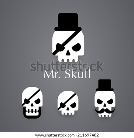 Skull logo pirate vector icon - stock vector
