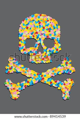 skull made ??of a capsule pill - stock vector
