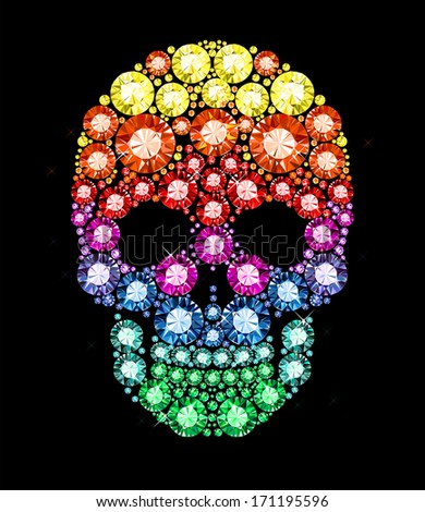 skull made of colored gems - stock vector