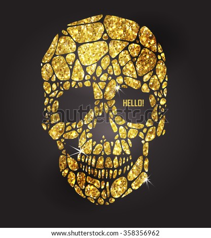 Skull of gold glittering stars . Golden element collection. Day of The Dead - stock vector