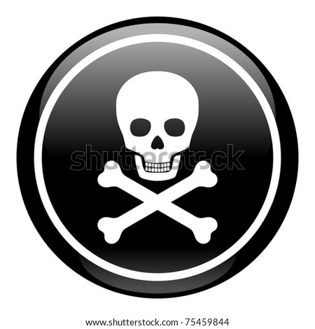 Skull On Button - stock vector