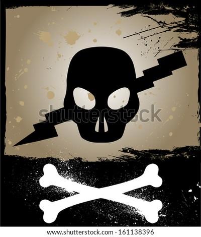 Skull on grunge background. Vector - stock vector