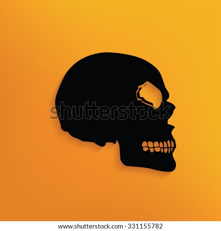 Skull on yellow background,clean vector - stock vector
