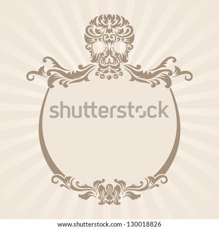 Skull Ornament Frame - stock vector