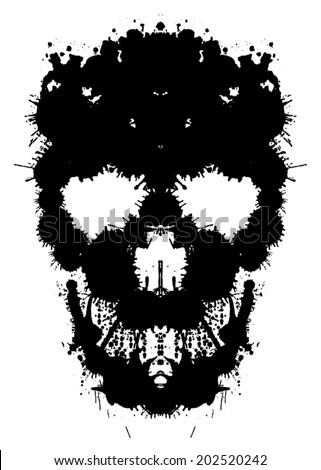 Skull painted blots. Unusual grunge design. Ink blots creating a skull silhouette - stock vector