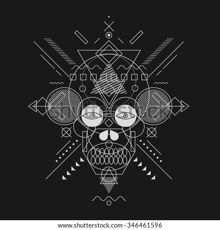 Skull painted geometric shapes, fine line. - stock vector