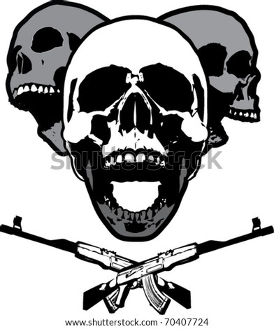 Skull Party - poster with three separate skull vectors - stock vector