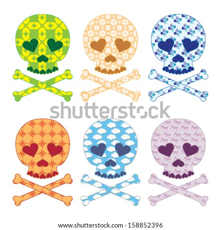 Skull patterns set vector - stock vector
