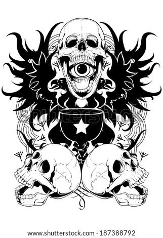 Skull potion - stock vector