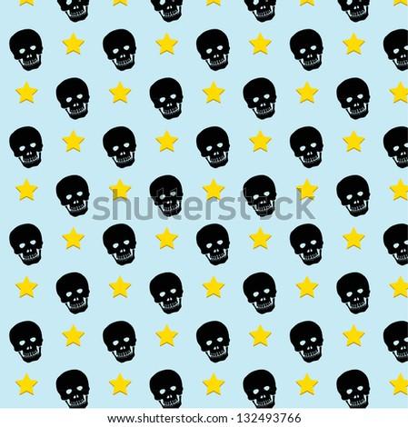 Skull rock star pattern background. vector. eps10 - stock vector