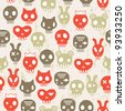 skull seamless background - stock vector