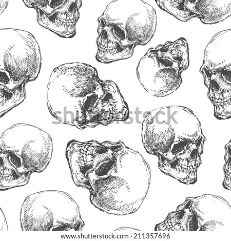 skull. seamless background. hand drawn. vector eps8 - stock vector