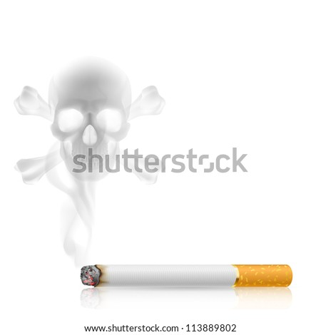 Skull shaped smoke comes out from cigarette on white - stock vector