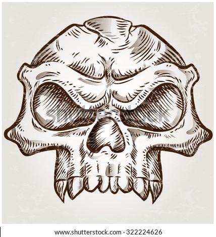 skull sketch design on background - stock vector