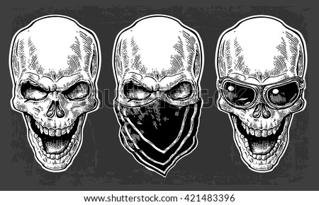 Skull smiling with bandana and glasses for motorcycle. Black vintage vector illustration. For poster and tattoo biker club. Hand drawn design element isolated on dark background - stock vector
