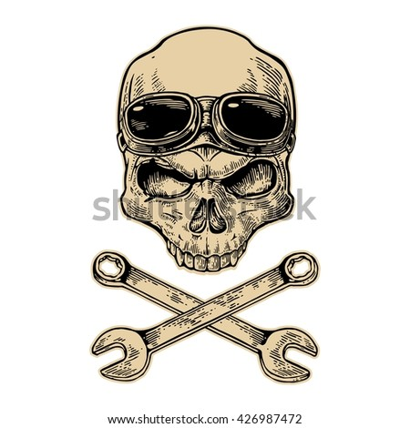 Skull smiling with glasses for motorcycle on forehead and wrench. Black vintage vector illustration. For poster and tattoo biker club. Hand drawn design element isolated on white background - stock vector