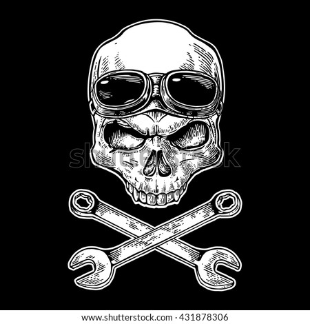 Skull smiling with glasses for motorcycle on forehead and wrench. Vintage vector illustration. For poster and tattoo biker club. Hand drawn design element isolated on black background - stock vector